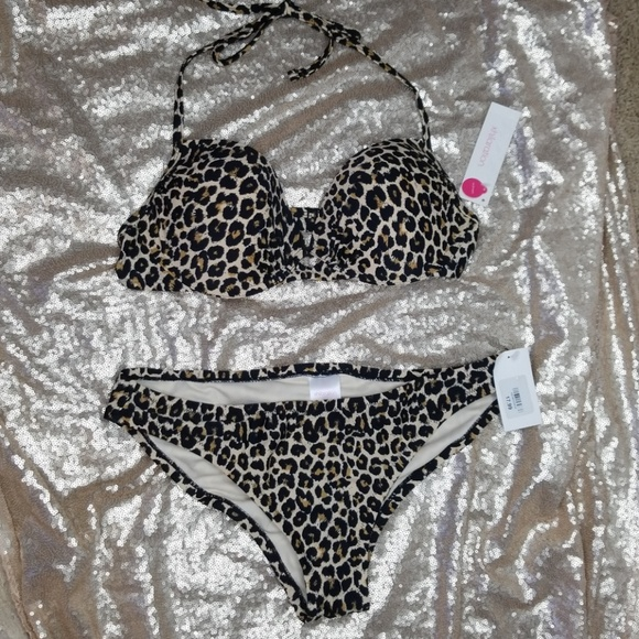 86f28140e Xhirlaration Animal Print Leopard Cheetah Bikini L